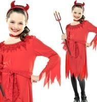 4-6 år Halloween LIL DEVIL Dress Fräck Klänning 110 - 122cm Little Röd Devil