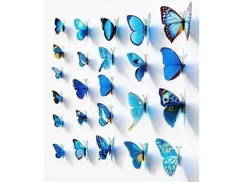 Väggdekoration 12st Snygga 3D Fjärilar Blå - Helt ny - Mönsterås - Väggdekoration 12st Snygga 3D Fjärilar Blå - Helt ny - Mönsterås