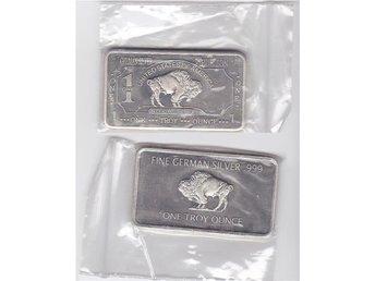German Silver Nickel 1 troy uns Buffalo Mint ocirkulerad ¤7 - Veberöd - German Silver Nickel 1 troy uns Buffalo Mint ocirkulerad ¤7 - Veberöd