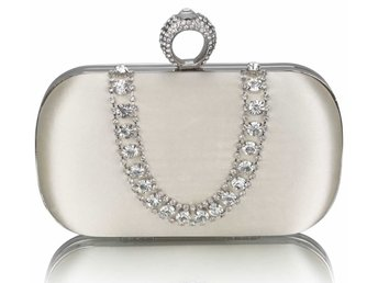 clutchväska  Sparkly Crystal Satin Clutch purse