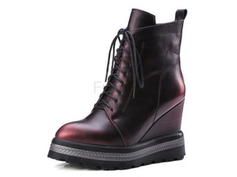 Dam Boots Silver Women Motorcycle Boots Wine Red 34