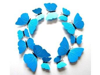 Väggdekor Grå : Fjärilar d effekt styck ljusblå väggdekor på tradera Övrig