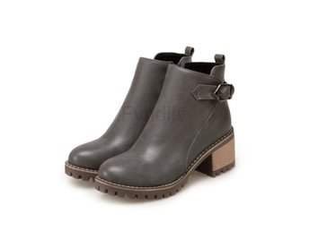Dam Boots Round Toe Zipper Pu Leather Women Boots Gray 42