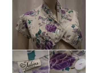 1cc364f0e17b Vintage retro Bolero-jacka vit med lila rosor bomull Saléns 50-tal 60-