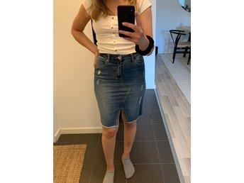 kort jeanskjol dam