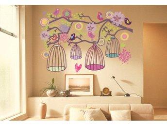 Väggdekor Minions : Väggdekor fåglar och blommig bur väggdekoration på