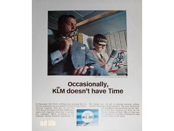KLM - ROYAL DUTCH AIRLINES TIDNINGSANNONS Retro 1967