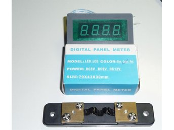 Digital panel meter DC 20A med shunt