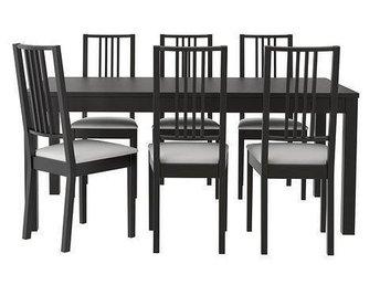 BJURSTA svart matbord utdragbart 6st BÖRJE stolar vit/svarta - Höganäs - BJURSTA svart matbord utdragbart 6st BÖRJE stolar vit/svarta - Höganäs