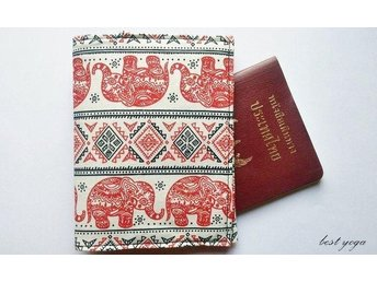 Handmade Thai Elephant A Fabric Personalized Passport Case Cover Wallet Holder