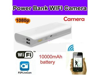 Power Bank WIFI Camera, 1080p, H.264.10000mAh batteri