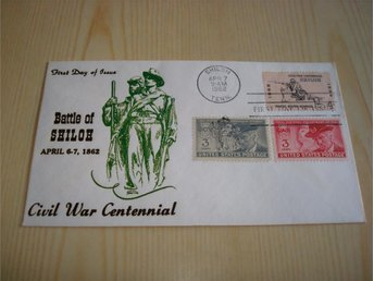 Civil War Centennial Battle of Shiloh 1862-1962 USA förstadagsbrev 3 frimärken