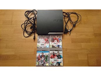 Playstation 3 PS3 Slim 320 GB Basenhet Konsol + 4 Spel och Kablage + HDMI
