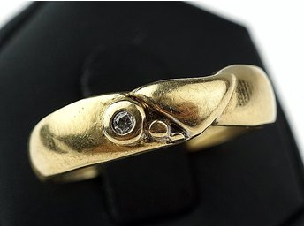 RING, 0,02ct, 18K, 3,00g, briljant, guld, b: 3,1-4,8mm.