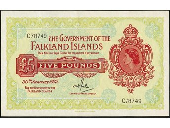 FALKLAND ISLANDS - GOVERNMENT OF THE FALKLAND ISLANDS 1975 ISSUE 5 POUNDS P 9b