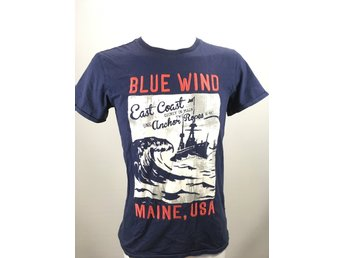 H&M blå T-shirt strl 170. blue wind maine usa kläder