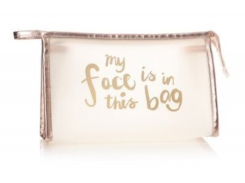 Makeupbag My Face Is in this bag Vit/Guld