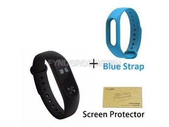 Xiaomi Mi Band 2 + Screen Protector + Blue Strap Fri Frakt Helt Ny