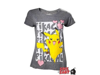 Pikachu love Tjej T-Shirt Grå (Small)
