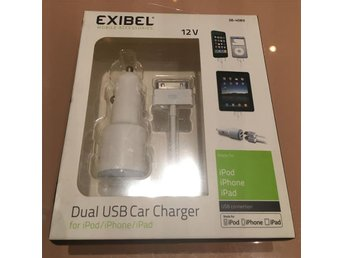 DUAL USB CAR CHARGER BILLADDARE  IPHONE IPAD IPOD EXIBEL