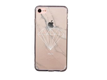 iDiwa Mjukskal transparent för iPhone 7 - Marmor Diamond Vit