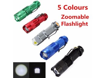 Mini LED Flashlight Black CREE Q5 2000lm Waterproof LED Laterna 3 Modes Zoomable