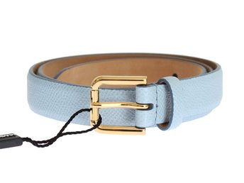 Dolce & Gabbana - Blue Leather Dauphine Gold Buckle Belt