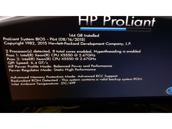 HP DL360 G6 , 2St X5550 Proppar , 144GB RAM , 8ST 300GB 15K RPM SAS SFF mm