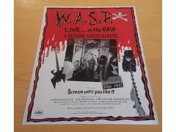 W.A.S.P. LIVE.... IN THE RAW 1987 POSTER