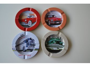 "Plåtaskfat set om 4 ""Bilar"" - Ford Chevrolet Buick Greyhound Rockabilly Retro"