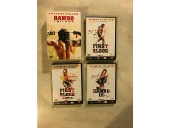Rambo trilogin, 3 DVD filmer First Blood  1 och 2 samt Rambo 3, action.