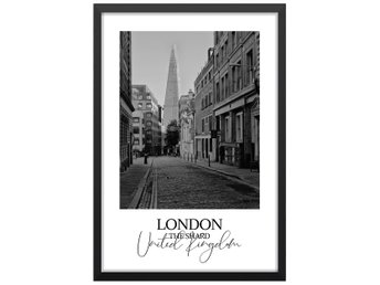 Affisch Poster London The Shard Svartvit 33x48