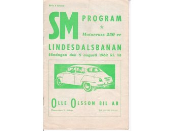 Program SM Moto-cross 250 cc Lindesdalsbanan 5 augusti 1962