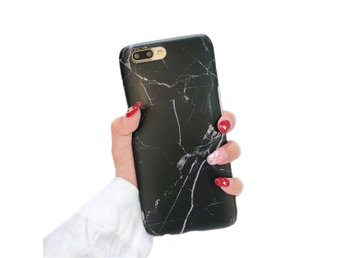 iPhone 7 8 Plus Mobilskal Svart Marmor Black Marble