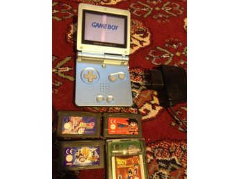 blue Game Boy Advance SP+4 Dragonball games