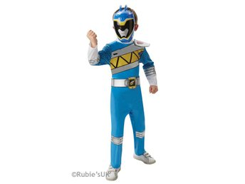 POWER RANGERS 110/116 cl (5-6 år) Dino Charge Blue DELUXE Dräkt med mask