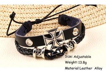 Läderarmband med maltezer kors - Stigen - Läderarmband med maltezer kors - Stigen