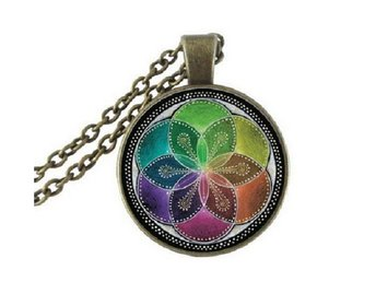 Halsband Flower Of Life Mandala - Buddhism Yoga - Multifärg