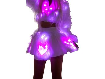 Light-Up Pink Heart White Shag Skirt - kjol rave rejv sommar M