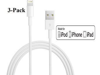 3-Pack iPhone Laddare Apple MFi 1M