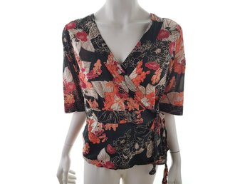 Vila size XL Blouse sleeve short flowers orange tied cotton 100% black