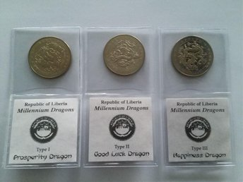 Liberia - Millennium Dragon 3-Coin Set Year Of The Dragon