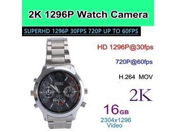 Ny 2K Pixel Watch-kamera, 1296P / 30fps, 720p / 60fps, MOV, H.264, Video / Foto