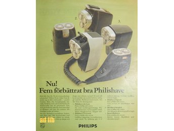 PHILIPS PHILISHAVE RAKAPPARATER TIDNINGSANNONS 1969
