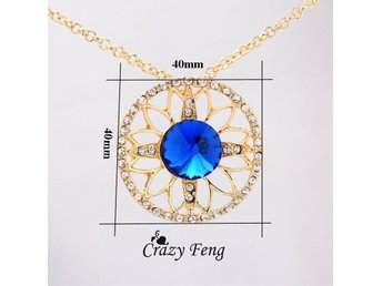 18K Yellow Gold Plated Sapphire Jewelry Set For Women Austrian Crystal 2 Set