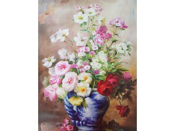 Beautiful Flowers in Vase  Oil on Canvas Olja på Duk Art