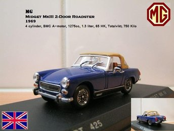MG Midget MkIII Roadster 1969 - Skala 1:43 - FAST PRIS! - Bandhagen - MG Midget MkIII Roadster 1969 - Skala 1:43 - FAST PRIS! - Bandhagen