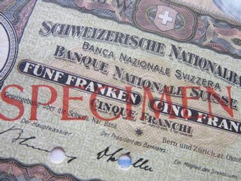SWITZERLAND - SCHWEIZERISCHE NATIONALBANK 1936 5 FRANCS SPECIMEN UNC P 11s