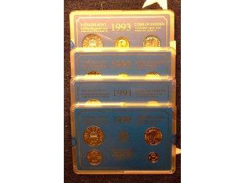 34 st Myntverkets hårplastset 1990, 1991, 1992 och 1993 UNC - Malmön - 34 st Myntverkets hårplastset 1990, 1991, 1992 och 1993 UNC - Malmön
