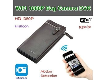 WIFI Bag kamera DVR, HD1080P / H.264, App: iminicam, TF-kort, WIFI / P2P / IP